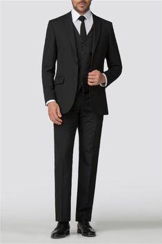 Scott & Taylor | Men's Black Panama 3 Piece Suit | Suit Direct Formal Suits, Men Formal, Funeral Suit, Black Three Piece Suit, Suits Direct, Fall College Outfits, Modern Gentleman, Fitted Suit, 3 Piece Suits