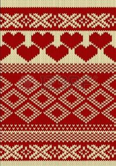 Knitted yarn swatch with slavic ornament photo