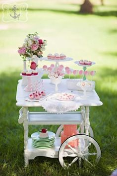 Strawberry Shortcake Themed Tea Party Fanciful Strawberry Shortcake Themed Tea Party by Minted and Vintage Rental and Sienna Rose Photography!Fanciful Strawberry Shortcake Themed Tea Party by Minted and Vintage Rental and Sienna Rose Photography! Girls Tea Party, Princess Tea Party, Tea Party Birthday, Girl Birthday, Birthday Ideas, Princess Birthday, Stage Patisserie, Deco Cupcake, Rose Cupcake