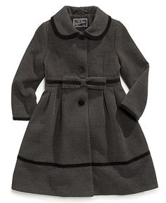 S. Rothschild Kids Coat, Girls or Little Girls Velvet Bow Trim Coat - Kids Toddler Girls (2T-5T) - Macy's