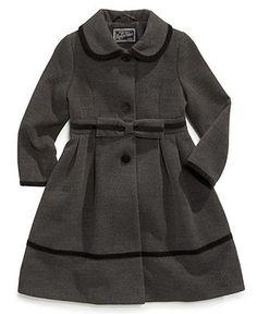S. Rothschild Kids Coat, Girls or Little Girls Velvet Bow Trim Coat - Kids Toddler Girls (2T-5T) - Macy's