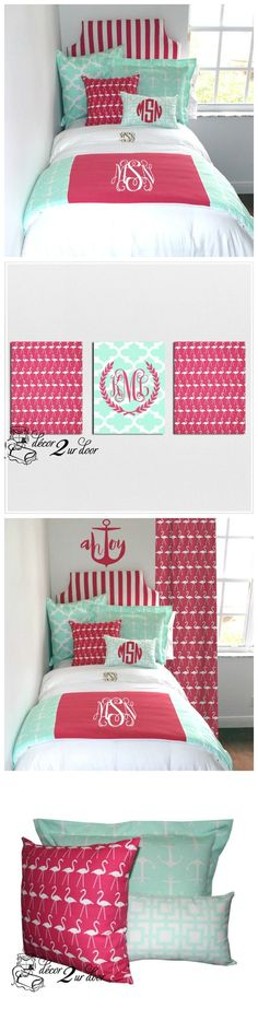 Pink and Mint dorm room bedding. Designer headboard, custom pillows, exclusive bed scarf, window panels, wall art, bed skirts, twin/queen/king duvet and custom monogramming!! Perfect for college, apartment, or teen bedding!! Designer Dorm Room Bedding. Teen room makeover. College apartment bedding and décor.