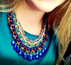 ZARA STATEMENT NECKLACE - CORD CHAIN NECKLACE WITH COLOURED RHINESTONES