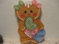 HP Gingerbread Hearts Valentines candy shelf sitter hand painted  ebay countreecorner (616)