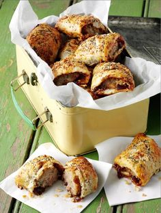 Caramelized red onion chutney and goat's cheese sausage rolls