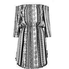 Boohoo Eva Border Pom-Pom Off The Shoulder Dress ($10) ❤ liked on Polyvore featuring dresses, elastic waist dress, off-the-shoulder dresses, pom pom dress, off shoulder dress and boohoo dresses