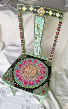 Hand Painted Wooden Chair by pamdesign on Etsy