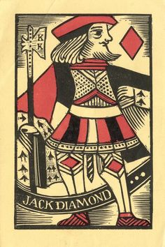 Ex libris Jack Diamond (c. 1935-40) - Linocut by Kalman Kubinyi (American, 1906 - 1973)