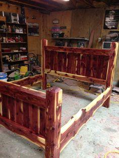 Bed Frame, Cedar Bed, Post Bed, Custom Made Frame, Cedar Frame, Cedar Post  Bed