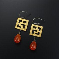 Asian style Keum Boo earrings latticework earrings by KAZNESQ