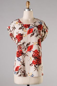 Pretty floral print  Blanche Top in Persimmon on Emma Stine Limited