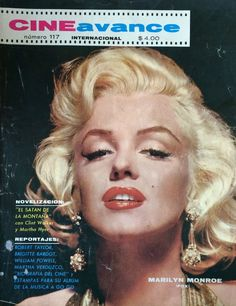 Cine Avance - 1966, magazine from Mexico. Front cover photo of Marilyn Monroe by Gene Kornman, 1953.