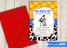 Toy Story Birthday Party Printable Invitation - etsy.com - Buzz and Woody - Cowboy - Western - Cow Print - Plaid - Yellow Red Blue Black & white - Toy Story decorations - ideas - boy bday