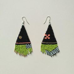 Your place to buy and sell all things handmade Seed Bead Earrings, Fringe Earrings, Beaded Earrings, Seed Beads, Beaded Jewelry, Seed Bead Patterns, Peyote Patterns, Beading Patterns, Earring Tutorial