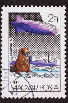 Polar flight of the Graf Zeppelin in 1931.   Cancelled Hungarian Stamp photo