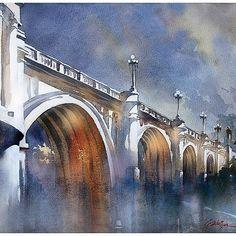Broadway #bridge #losangeles #watercolor #watercolour #watercolorpainting #historic #painting #art #architecture #thomaswschaller