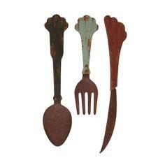 Studio 360 Antique Wood/ Metal Cutlery Decor
