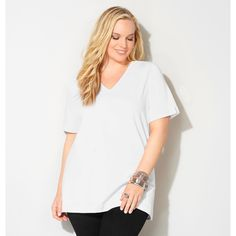 Avenue Enzyme Washed V-Neck Tee ($15) ❤ liked on Polyvore featuring tops, t-shirts, white v neck tee, long length t shirts, long v neck tee, v-neck tee and long v neck t shirts