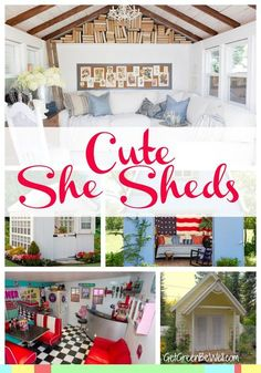 She Sheds are so cute! A backyard getaway for women, they are often storage sheds converted to adorable rooms similar to man caves outside. Here are 10 of the best she sheds for your peaceful getaway! (She Shed Plans) Diy Storage Shed Plans, Wood Shed Plans, Diy Shed, Storage Sheds, Backyard Sheds, Outdoor Sheds, Garden Sheds, Garden Houses, Garden Cottage