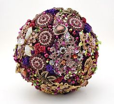 Purple and Gold Brooch Bridal Bouquet Vintage Style Bridal Wedding