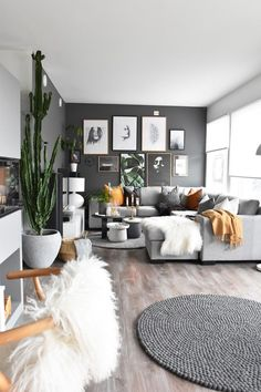Inspiring Modern Apartment Living Room Decoration Ideas Because the main points matter. For modern a Big Living Rooms, Boho Living Room, Living Room Modern, Living Room Sofa, Living Room Interior, Apartment Living, Modern Apartment Decor, Modern Apartments, Interior Design For Apartments