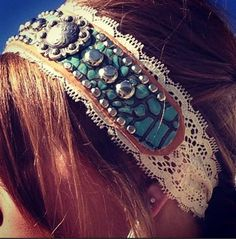 Turquoise Croc Custom Leather And Lace Headband 03-Turquoise, Croc, Custom, Leather, And ,Lace ,Headband, 03