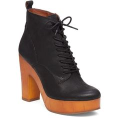 Lucky Brand Tafari Leather Ankle Boots ($100) ❤ liked on Polyvore featuring shoes, boots, ankle booties, black, black platform booties, lace up ankle boots, black platform boots, black leather bootie and black high heel booties