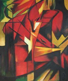 Título: The fox Año: 1913 Autor: Franz Marc (1880-1916) En esta pintura se puede identificar fácilmente la cabeza del zorro, el artista aplicó colores cálidos y fuertes predominando el color rojo, además del uso de geometría y formas mediante las que Marc construía el animal de una manera no convencional, pues esto caracterizó su estilo.