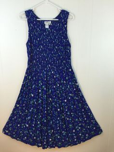 Mid Calf #ColdwaterCreek Women's 18W #Dress Modest Smocked Pleated Blue Floral