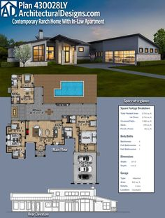 Architectural Designs Modern House Plan 430028LY has a detached in-law or guest suite complete with a bedroom, living room and kitchen off the rear porch. Over 3,700 square feet of heated living space. Ready when you are. Where do YOU want to build? #4300