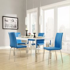 This gorgeous dining set by Matilda features comfortable chairs available in four different colors. With a sleek, durable table, this modern set is the perfect way to update your home without sacrificing function.