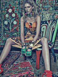Because, Sunday. Sigrid Agren in 'Patchwork' by Sebastian Kim for Numéro. #Sunday #textiles #rugs #interior #design