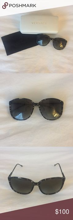 Versace Sunglasses Versace sunglasses. Black tortoise print. Oversized with thin side legs. Excellent condition. Case has some marks and scraps. Comes with sunglasses, dust cloth and case. Versace Accessories Sunglasses