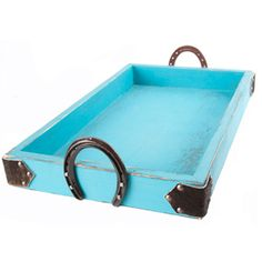Turquoise Tray With Rustic Accents $59.99 from NRS....looks super easy to make myself!! Jake should make for Lindsey, then fill with lots of fun bathy stuff. Bubbles, candles, etc.
