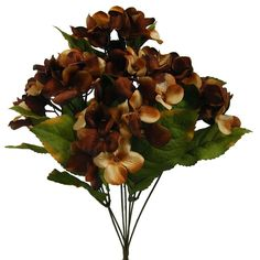 1 Pc, 18.5 Inch Artificial Hydrangea Bush w/7 Stems As Part Of Fall Decorations - Coffee (Brown)/Beige