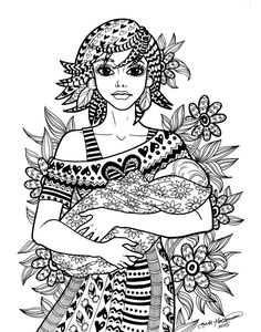 TREASURE Of THE HEART Coloring Page Motherhood Series