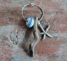 Sea Treasures Keychain Driftwood Starfish Glass by StarHomeStudio