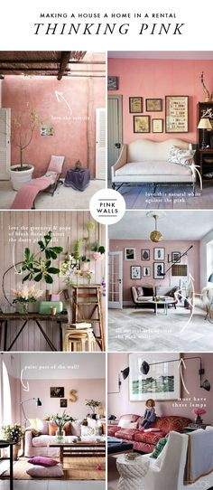 Making a house a home in a rental: pink living room