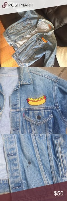 Vintage Levi's jean jacket *oversized* 1980s vintage oversized Levi's jacket men's small. I'm 5'4 and this runs oversized for my size. It's a great accessory  to most outfits!! Also has a hot dog suck it patch on it already :) you might be able to remove it! I'm not sure. levis Jackets & Coats Jean Jackets