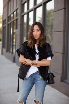 Boyfriend Jeans for Women at AG Jeans Official Store Song Of Style, My Style, Look Fashion, Autumn Fashion, Street Chic, Street Style, Aimee Song, Shearling Vest, Mother Denim