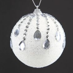 "3.5""MICA JEWELED BALL WHT/SIL"
