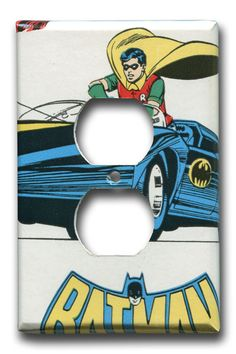 Robin in Batmobile Batman Single Outlet Cover by Fondue on Etsy