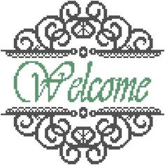 Welcome or Family Name with Swirly Border Cross Stitch Pattern