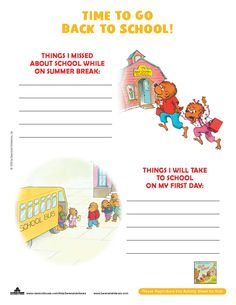 Time for school with this Berenstain Bears Back to School Activity