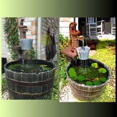 Custom Handmade Whiskey Barrel Fountain with a self-sustaining aquatic fish garden. The aquatic fish garden is aerated using a fountain pump circulated through a cast iron pitcher pump. The bucket is an added feature that slows and spreads the water flow not disturbing the fish or plants.  Incredible water feature.    Tags: Whiskey barrel fountain. Garden fountain. Well head fountain. Authentic water feature. Antique fountain. garden feature. Water feature. Antique well pump. Old fashioned…