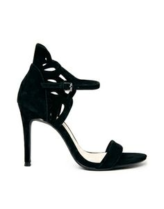 Faith Black Lazer Cut High Heeled Sandals