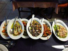 Seafood appetizers in Sagliari, Sardegna