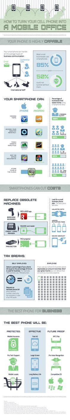 Cómo convertir tu smartphone en una oficina móvil #infografia #infographic#internet