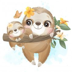 Cute bunny,raccoon, elephant and sloth sitting inside the coffee cup Cute Sloth, Baby Sloth, Baby Otters, Baby Animal Drawings, Cute Drawings, Watercolor Flower Background, Flower Watercolor, Watercolor Trees, Watercolor Portraits