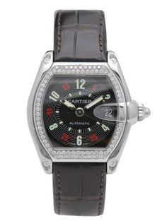 Cartier Roadster Mid size Diamond Bezel with Leather Strap  Reg. Price:  $9,999.00  Sale Price:  $6,999.00